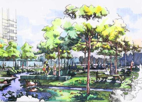 园林景观效果图  园林景观手绘图(手绘图)  某办公楼前休闲绿地效果