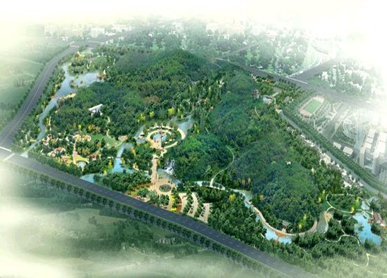 图纸 园林设计图  园林景观效果图  园林景观鸟瞰图(鸟瞰图)  某生态