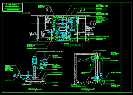泵房平立面图(英文标注)