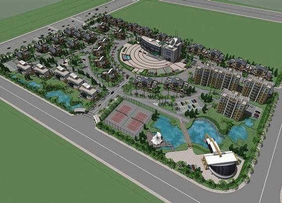某小区规划鸟瞰图 小区规划及景观设计鸟瞰图 住宅小区规划与鸟瞰图