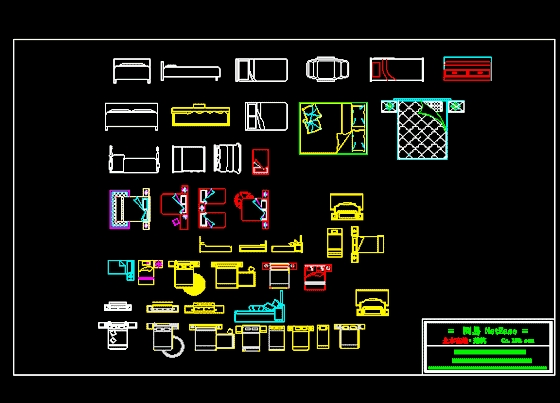 建筑装饰图块集(床)图纸道闸cad小区图片