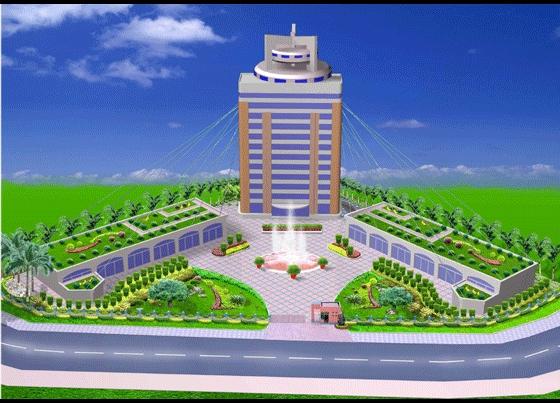 某工厂办公楼前绿化效果图