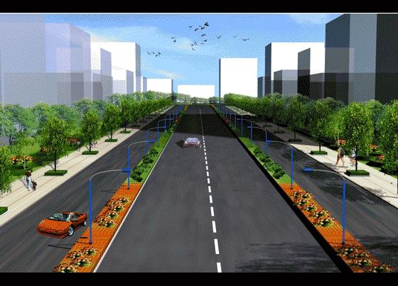 园林设计图  园林景观效果图  园林景观立面效果图(立面效果图)  道路