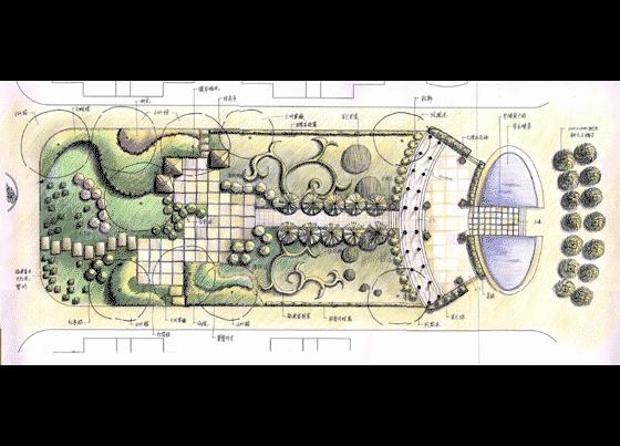 园林设计图 园林景观效果图 园林景观手绘图 小广场平面图的绘制效果