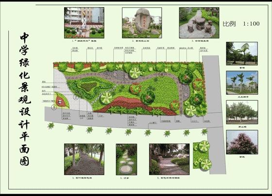 某中学绿化景观设计平面图