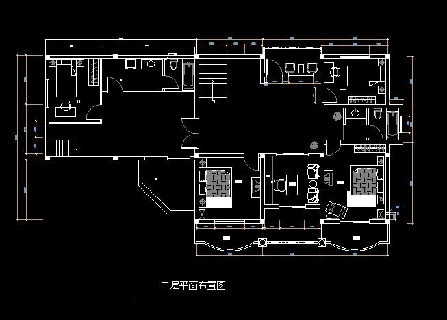 两层别墅施工平面图