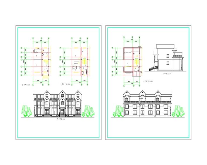 三层联体两开间别墅_cad图纸下载-土木在线
