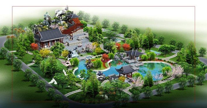 园林景观效果图 园林景观鸟瞰图 一公园平面和鸟瞰图  上传时间:2006