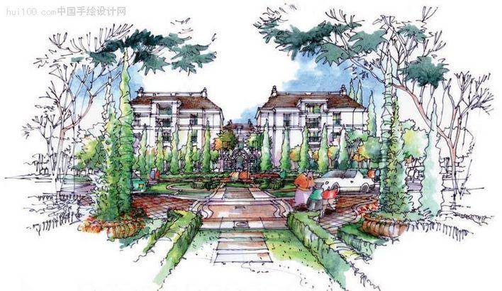 公园景观设计手绘图 大堂手绘图
