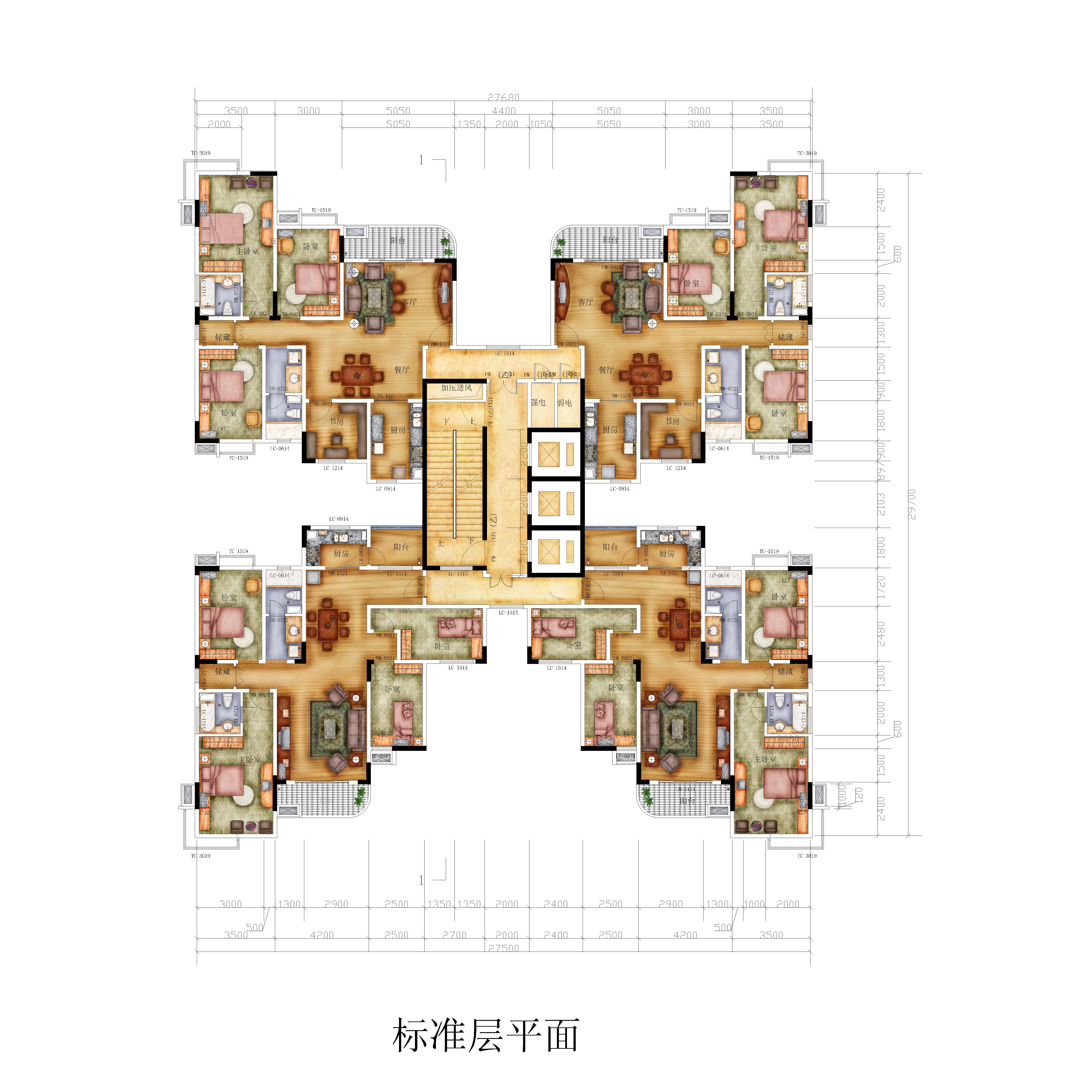 高层两梯四户平面图高清 南梯四户高层户型图 两梯三户户型图