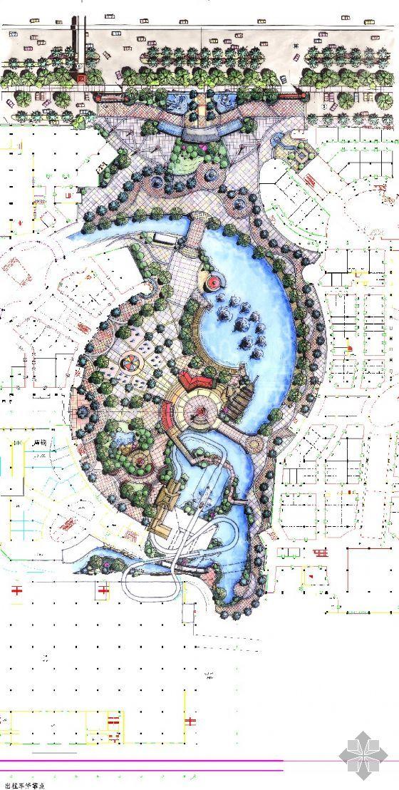 园林设计图  彩铅平面图