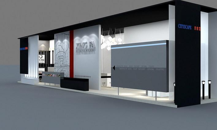 房产交易会展场,立体构成设计,灰白调