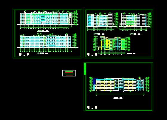 图纸 建筑图纸 教育建筑 大学生宿舍设计 某学院设计大楼立面图  (0人图片