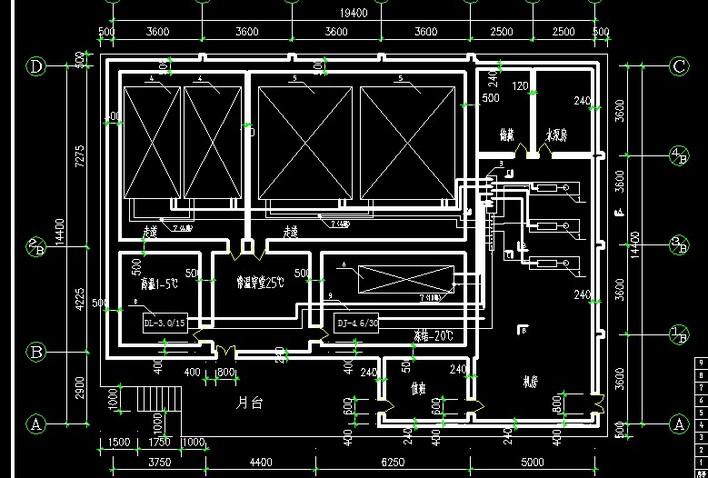 图纸包括了冷库的设计平面图,剖面图和轴测图.图片