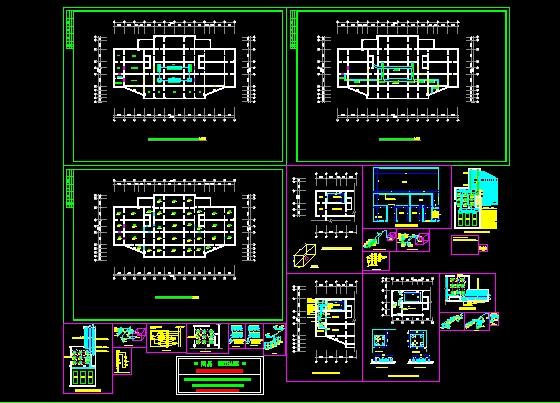 基础平面图,消防泵管路系统图,地下室消防泵房平面布置图,冷媒水管道