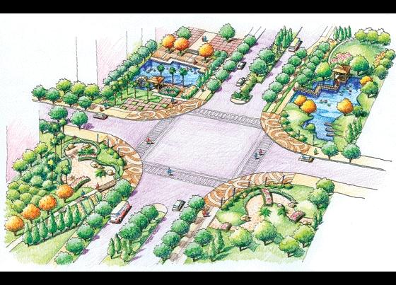 小区景观设计手绘效果图 小区入口景观手绘效果图 手绘景观快题设计