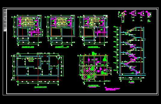 小学教学楼cad图纸立平剖面图 人防 停车场出口设计 地铁站出口设计