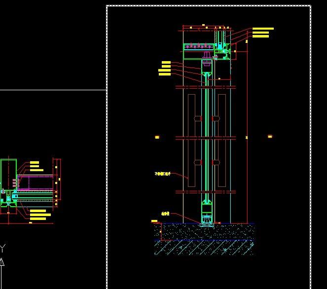 地弹门节点图_CO图纸在线(原网易土木在线)土木钢结构主视图图片