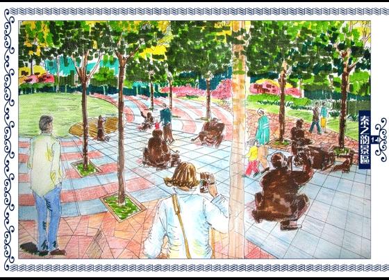 园林景观效果图  园林景观手绘图(手绘图)  广场规划方案效果图(五)