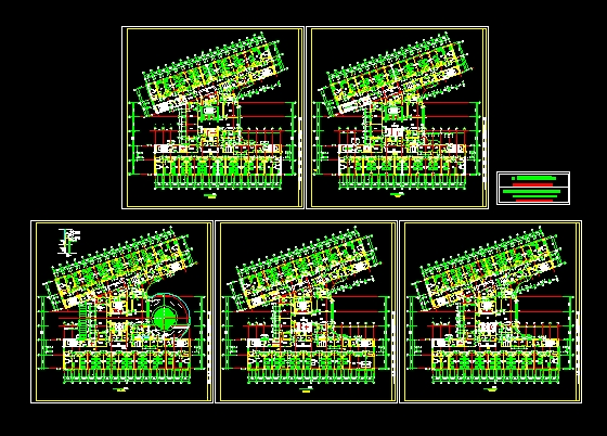 四单元六层楼房立面图-三至六层平面图