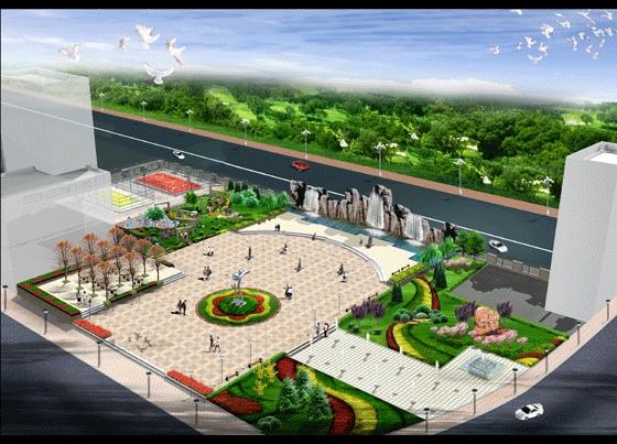 老年活动中心效果图 小区广场设计效果图  所属分类:鸟瞰图 园林景观