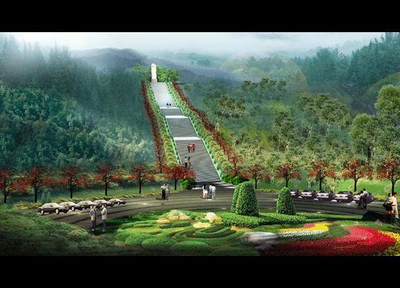 图纸 园林设计图 园林景观效果图 园林景观立面效果图 某公墓环境景观