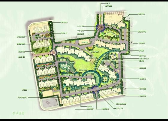 小区总平面图  所属分类:平面效果图 园林景观效果图 园林设计图
