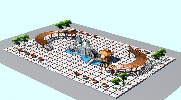 城市广场景观设计方案鸟瞰效果图(aerial view