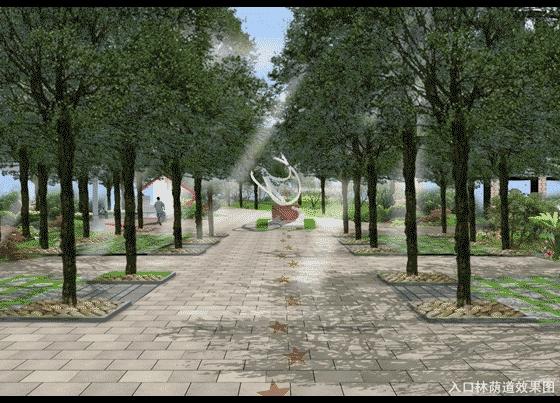 图纸 园林设计图 园林景观效果图 园林景观鸟瞰图 小区入口林荫道效果