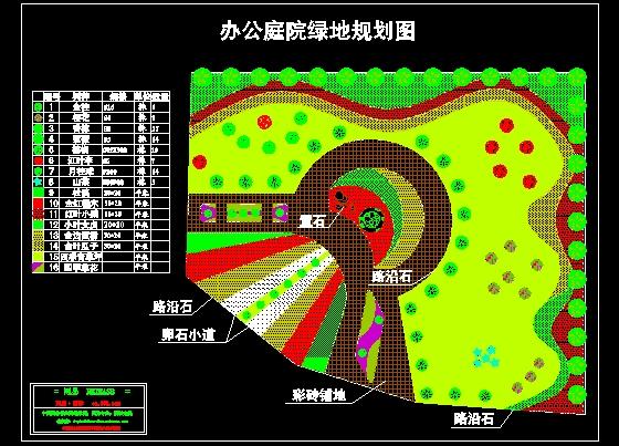 某单位庭院绿地规划平面图