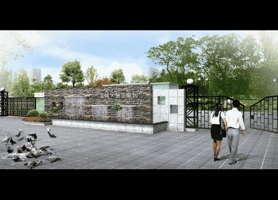 图纸 园林设计图 园林景观效果图 园林景观立面效果图 某小区入口效果