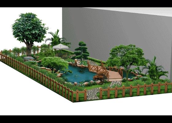 图纸 园林设计图 园林景观效果图 园林景观立面效果图 别墅后花园景观