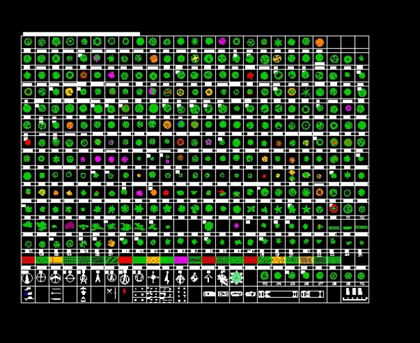 数百种cad植物平面图例
