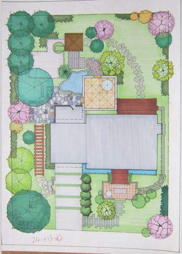 说明:包括手绘平面图和立面图,课程作业,陕西地区某别墅的庭院设计