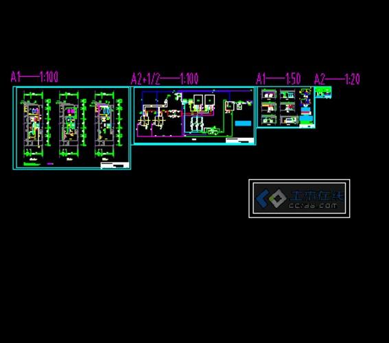燃气锅炉平面,系统图,剖面图;膨胀水箱,分集水器大样.图片