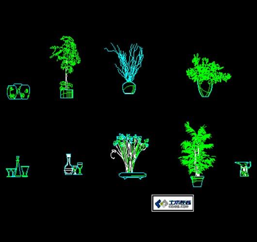 植物盆栽cad立面图集