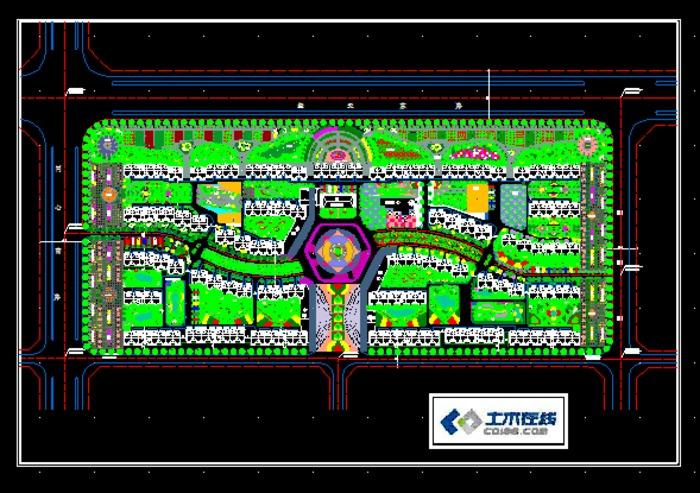 小区绿地规划方案及局部配植详图 工业园区企业活动中心绿地规划总图