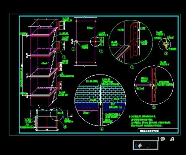 图纸 暖通设计图  建筑外挂钢制风井安装节点或用于厨房排风排烟