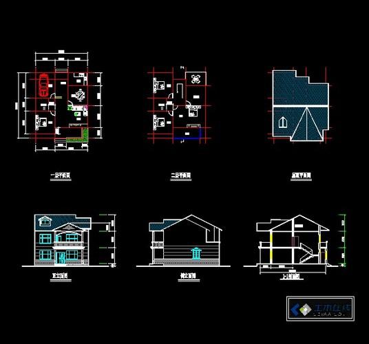 墅施工图(带旋转楼梯)图片