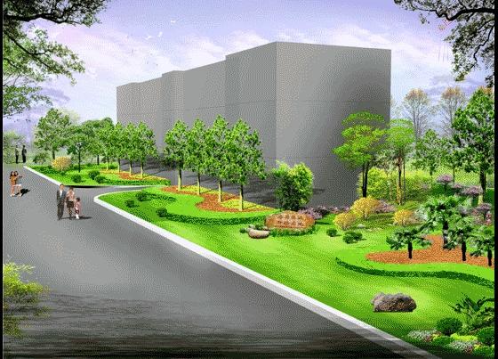 图纸 园林设计图 园林景观效果图 园林景观立面效果图 某厂区绿化景观