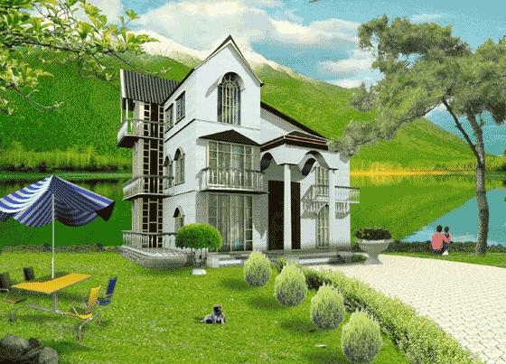 效果图 一整套别致的田园风格别墅方案图(含不同角度的效果图) 花园
