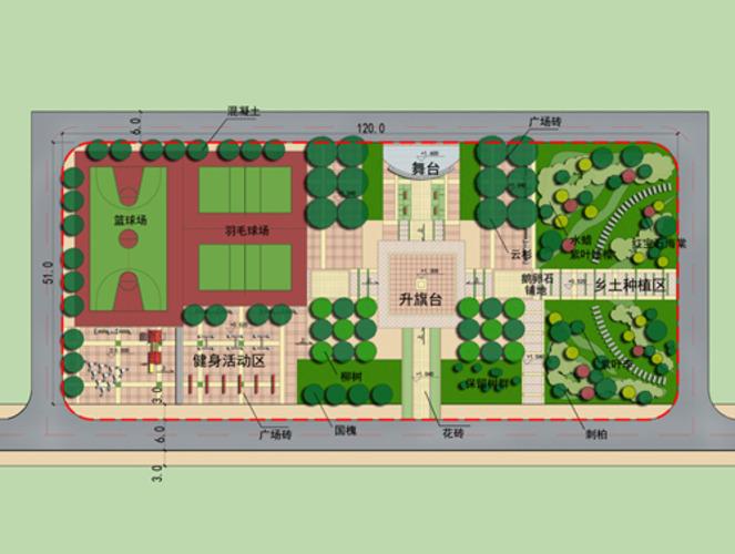 某农村文化广场总平面图及景观规划图