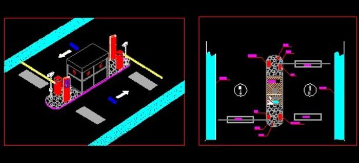停车场系统平面图,主要有道闸,岗亭,监控,地感圈等平面布置