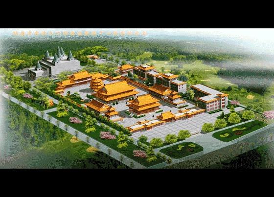 图纸 园林设计图  园林景观效果图  园林景观鸟瞰图(鸟瞰图)  寺庙