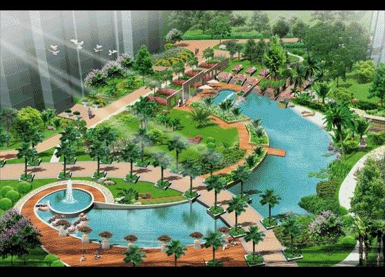 居住区水景景观设计 居住区景观平面图  所属分类:鸟瞰图 园林景观