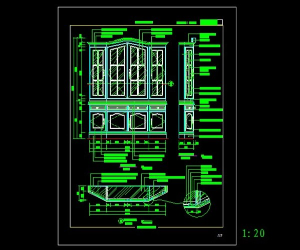 欧式酒柜结构设计图_cad图纸下载-土木在线
