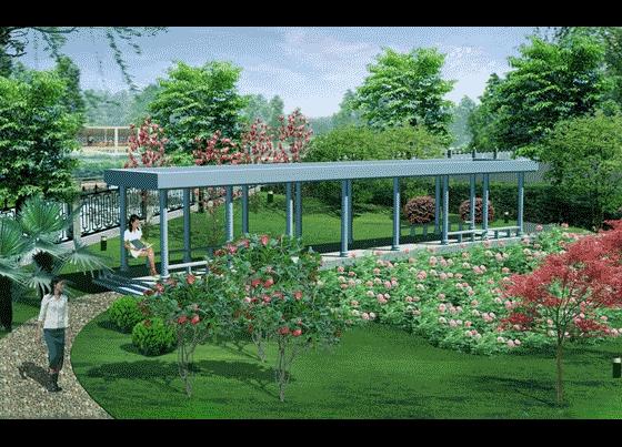 图纸 园林设计图 园林景观效果图 园林景观立面效果图 厂区局部效果图