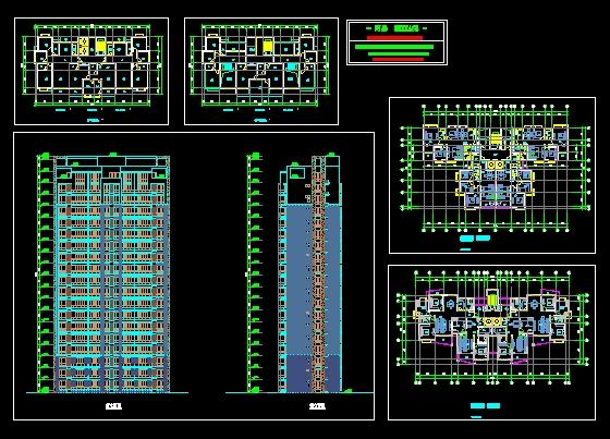剖面图(住宅平面图)  高层住宅楼施工图   点式住宅楼经典户型,一梯三