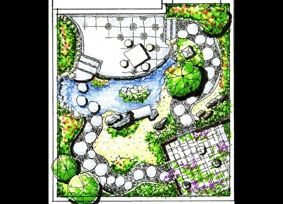 图纸 园林设计图 园林景观效果图 园林景观手绘图 别墅手绘平面图  上