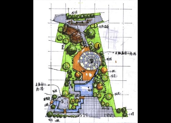 某大学艺术学院庭院设计手绘图